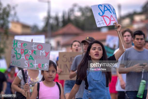 Thousands of immigrants and supporters join the Defend DACA March to oppose the President Trump order to end DACA on September 10 2017 in Los Angeles...