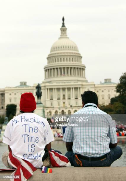 Thousands of immigrants marched on the US capital Washington to demand immigration reform on October 8 2013 Protestors call for congress to pass...