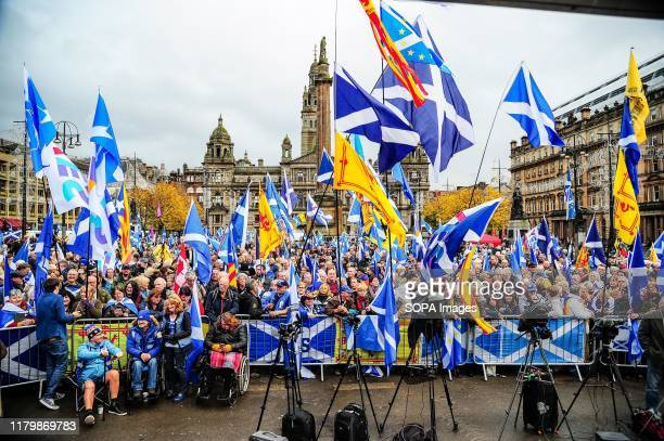 Thousands of independence supporters wave flags during the IndyRef2020 rally hosted by The National Newspaper.