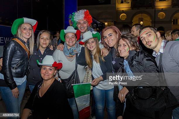 Thousands of Italian fans gather up at midnight in Piazza Vittorio, Turin, to watch Italy play against England on the big screen during the Brazil...