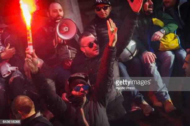 Thousands of Italian taxi drivers took to the street in Rome to protest against the American multinational Uber a smartphone applicationbased...