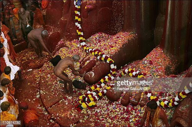 Thousands of Jain devotees attended the Mahamastabhisheka or head anointing ceremony of the 1 800yearold statue Jain sage Gomateswara Lord Bahubali...