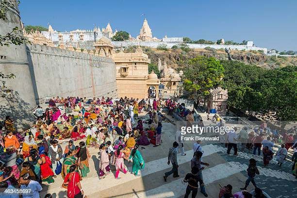 Thousands of Jain pilgrims are visiting Shatrunjaya hill one of the major pilgrim sites for Jains on the opening day of the yatra season