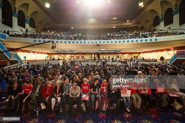 Thousands of Jeremy Corbyn supporters sit in the audience during a rally for the Labour leader at Ruach City Church in Kilburn on August 21 2016 in...