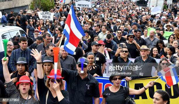 Thousands of judiciary workers on strike gather outside the headquarters of the Judiciary in San Jose on July 26 2017 demanding deputies to include...
