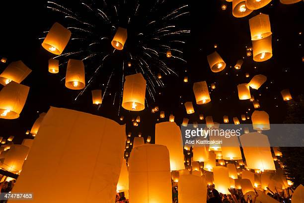 Thousands of Khom Loi are launched into the air during the Yi Peng Festival at Lanna Dhutanka