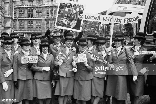 Thousands of Laker Airways employees arrived in London for a demonstration in support of their boss Sir Freddie Laker after the company went bust...