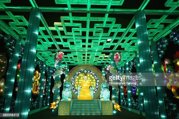 Thousands of LED lights light up part of Illuminasia the world's biggest indoor illuminations at Blackpool Winter Gardens on April 17 2014 in...