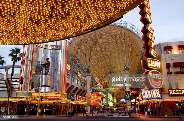 Thousands of lights illuminate the entrance to the Plaza Hotel & Casino, located across the street from the Fremont Street Experience, are seen in...