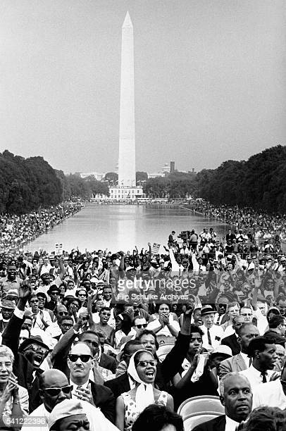 Thousands of marchers gather at the Lincoln Memorial and its reflecting pool for the March on Washington and Martin Luther King Jr's I Have A Dream...