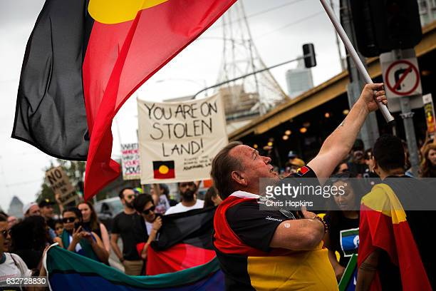 Thousands of Melbournians march through Melbourne on January 26 2017 in Melbourne Australia The march was organised to raise awareness of Indigenous...