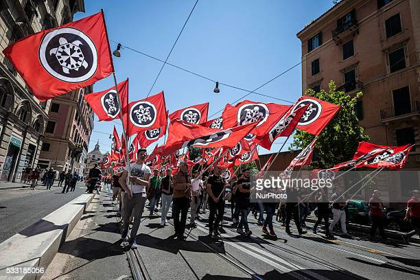 Thousands of members of Italian far-right movement CasaPound from all over Italy march with flags and shout slogans during a demonstration in Rome,...
