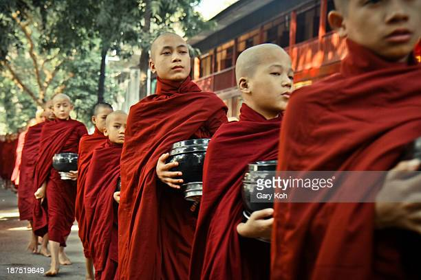 Thousands of monks at the Mahagandayon Monastery in Myanmar line up every morning to collect their meals. The whole process takes place in silence...
