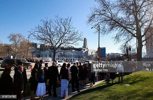 Thousands of Mormons walk to the Conference Center for the start of the 186th Annual General Conference of the Church of Jesus Christ of LatterDay...