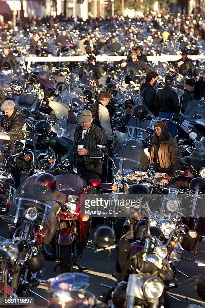 Thousands of motorcycles crowd San Fernando Road in Glendale waiting for the start of the 17th annual Love Ride benefiting muscular dystrophy The...