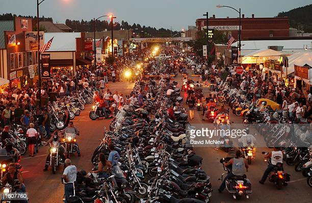 Thousands of motorcycles fill Main Street during the 61st annual Sturgis Motorcycle Rally August 7 2001 in Sturgis SD Some one halfmillion...