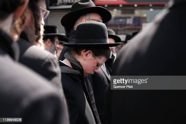 Thousands of mourners gather in Borough Park for the funeral of The Skulener Rebbe Rabbi Yisroel Avrohom Portugal who died on Monday on April 02 2019...