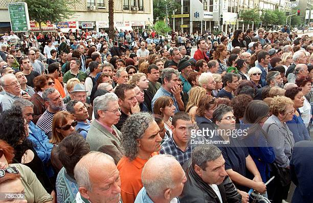 Thousands of mourners gather in the streets during the memorial service for Leah Rabin, wife of assassinated former Prime Minister Yitzhak Rabin...