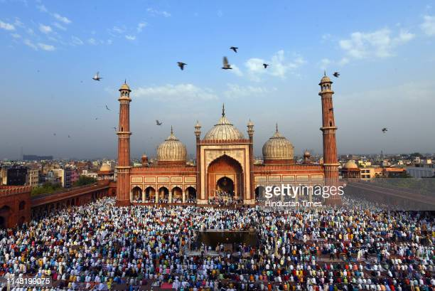 Thousands of Muslim devotees offer prayers on the occasion of Eid-ul-Fitr, at Jama Masjid, on June 5, 2019 in New Delhi, India. The auspicious...