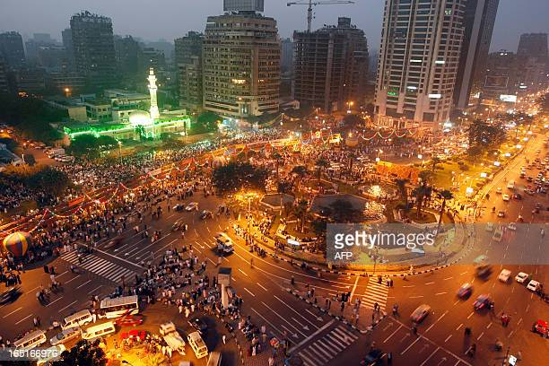 Thousands of Muslims begin to gather on the avenue close to the Mustafa Mahmoud Mosque in Cairo before daybreak to preparing for a special prayer for...