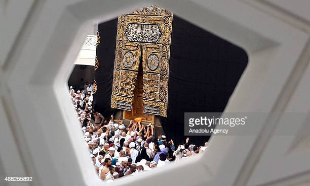 Thousands of Muslims gather at the Grand Mosque in Islam's holiest city of Mecca and home to the Qabba on April 12015 as Muslims perform the Umrah or...