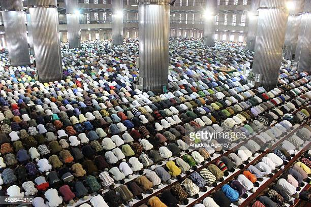 Thousands of Muslims pray for people living in Gaza under the Israeli armys weekslong attacks at the Istiqlal Mosque biggest one with 250000 prayers...