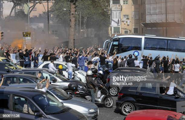 Thousands of Napoli fans who could not go to Turin to watch the match Juventus vs Napoli accompanied the team of Naples from San Paolo Stadium in...