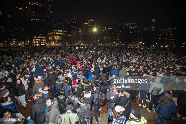 Thousands of New England Patriots fans gather on the Boston Common after the New England Patriots beat the Los Angeles Rams in Super Bowl LIII on...