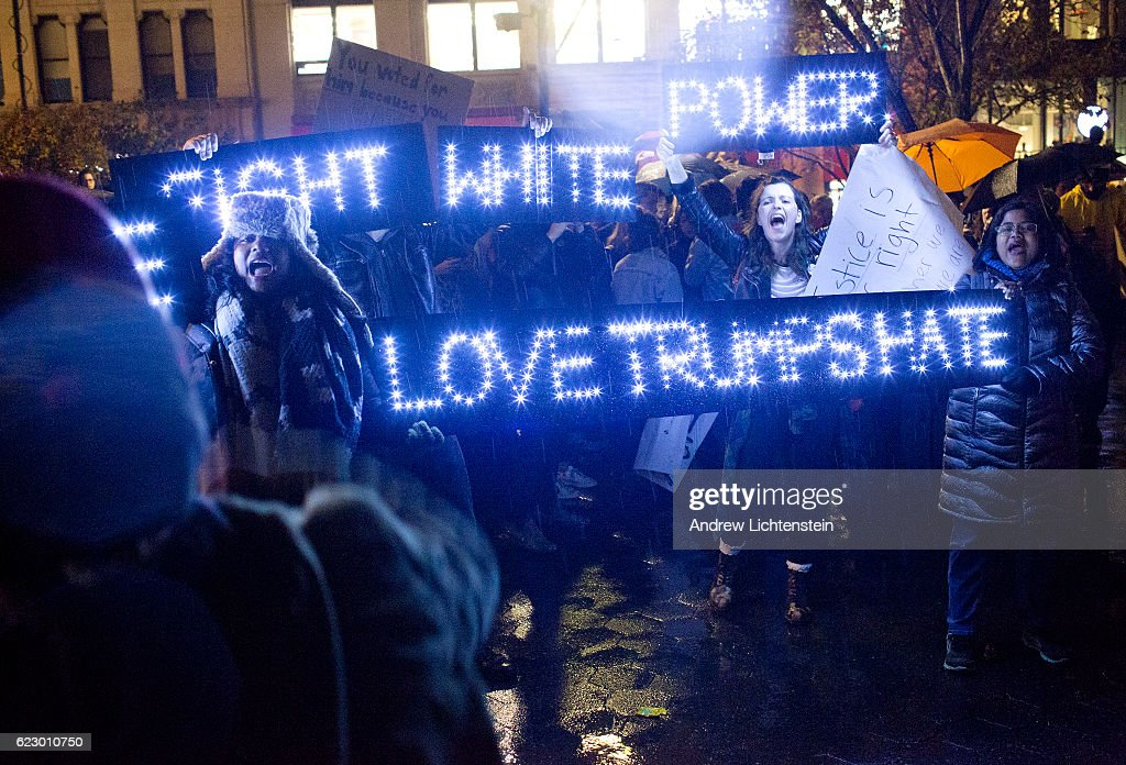 NYC anti-Trump march day of his election : News Photo