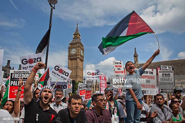 Thousands of Palestine supporters and Palestinians themselves march from the Israeli embassy in Kensington to Parliament Square calling for a...