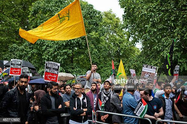 Thousands of Palestine supporters outside the US Embassy in London during the Al Quds Day showing their solidarity with people of Palestine