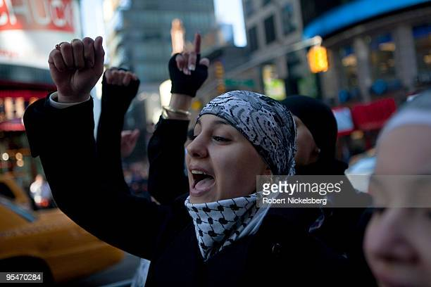 Thousands of PalestinianAmericans assembled December 27 2009 to protest the one year anniversary of the Israeli Army's attack on Gaza in New York...