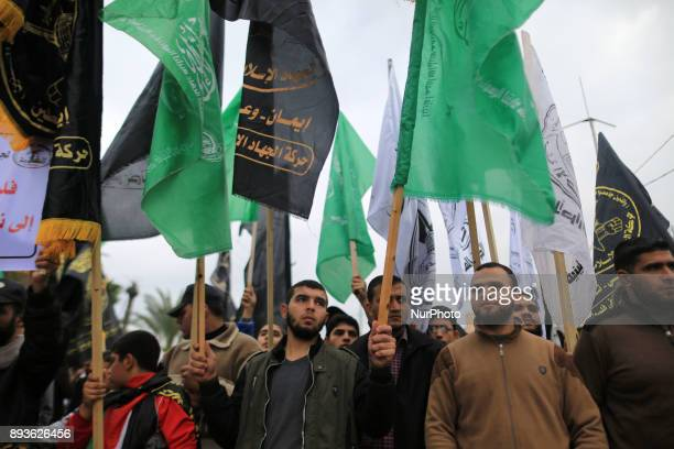 Thousands of Palestinians protested in Gaza City on December 15 2017 against US President Donald Trump's decision to recognise ALQuds as the capital...