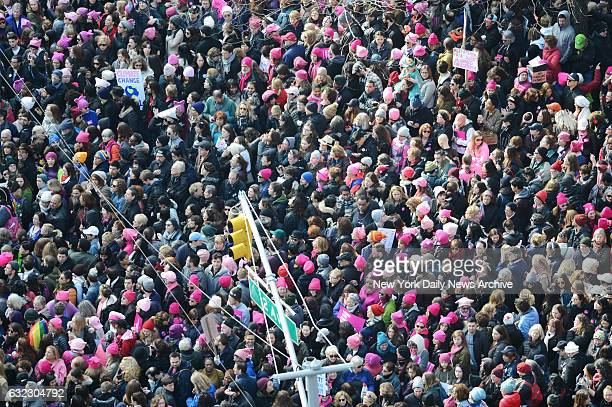 Thousands of participants converge on Dag Hammarskjold Plaza and 2nd Avenue during the Women's March in New York City on January 21 2017 The...
