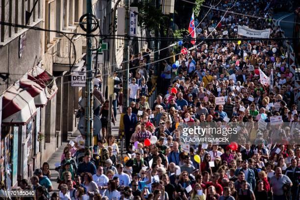 Thousands of participants march during an antiabortion protest titled National March for Life demanding a ban on abortions in Bratislava Slovakia on...