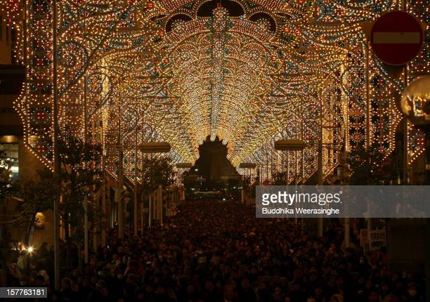 Thousands of people admire the Kobe Luminarie illuminations on December 6 2012 in Kobe Japan Some 200000 electric bulbs are lit up for the annual...