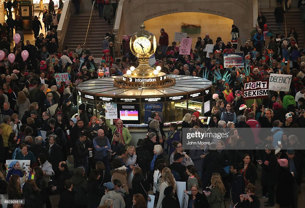 Thousands of people arrive to Grand Central Station to take part in the Women's March on January 21, 2017 in New York City. The Midtown Manhattan event was one of many anti-Trump protests nationwide that came a day after Donald Trump was sworn in as the 45th President of the United States.