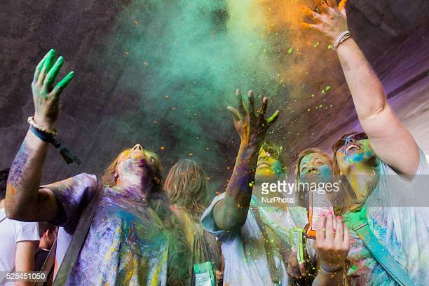Thousands of people at the second edition of the Turin Holi Fusion, the Festival of Colors of Indian origin. Turin, Italy on June 13, 2015.