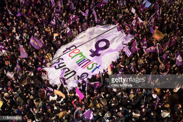 Thousands of people attempt to march down Istanbul's famous Istiklal street during a rally for International Women's Day on March 8 2019 in Istanbul...