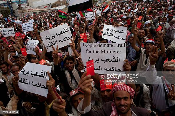 Thousands of People attend a demonstration against President Ali Abdullah Saleh in Sanaa March 25 as Saleh and top dissident General Ali Mohsen...