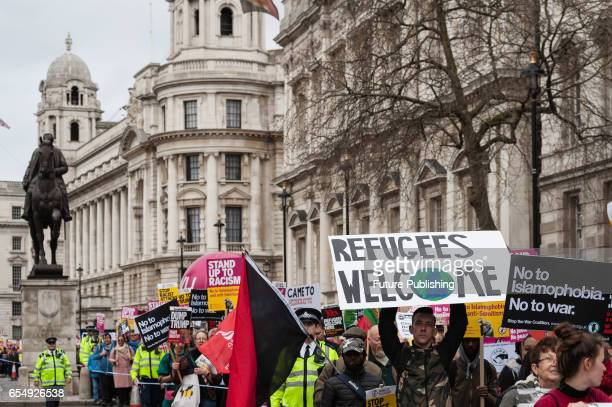 Thousands of people attend a national demonstration against racism in central London and march towards Parliament Square to defend EU migrants right...