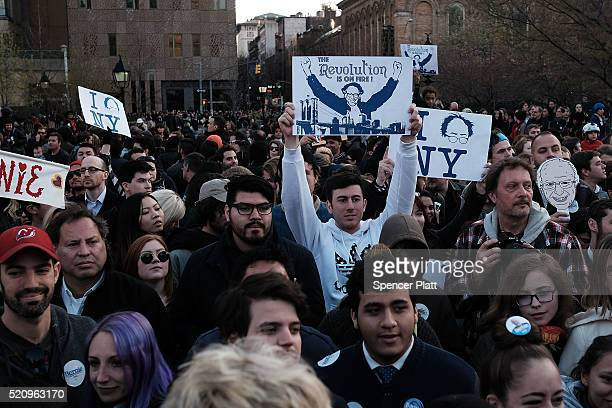 Thousands of people attend a rally for Democratic Presidential candidate Bernie Sanders in New York City's historic Washington Square Park on April...
