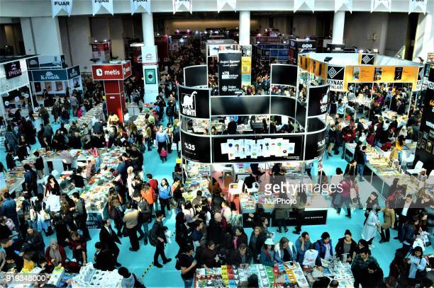 Thousands of people attend the 12th International Ankara Book Fair in Ankara Turkey on February 17 2018