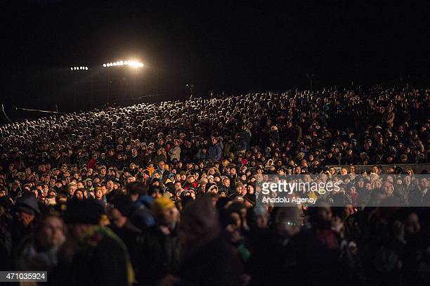 Thousands of people attend the dawn service at Anzac Cove in commemoration of the 100th anniversary of Canakkale Land Battles on Gallipoli Peninsula...