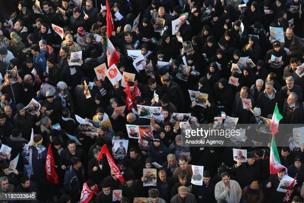 Thousands of people attend the funeral ceremony of Qasem Soleimani, commander of Iranian Revolutionary Guards' Quds Forces, who was killed in a U.S....