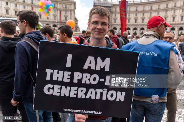Thousands of people attended 'National March for Life' to reaffirm the yes to life and no to abortion and to euthanasia on May 18 2019 in Rome Italy...