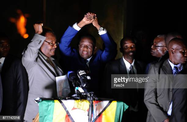Thousands of people being addressed by President Emmerson Mnangagwa at the ZanuPf headquarters on November 22 2017 in Harare Zimbabwe Mnangagwe...