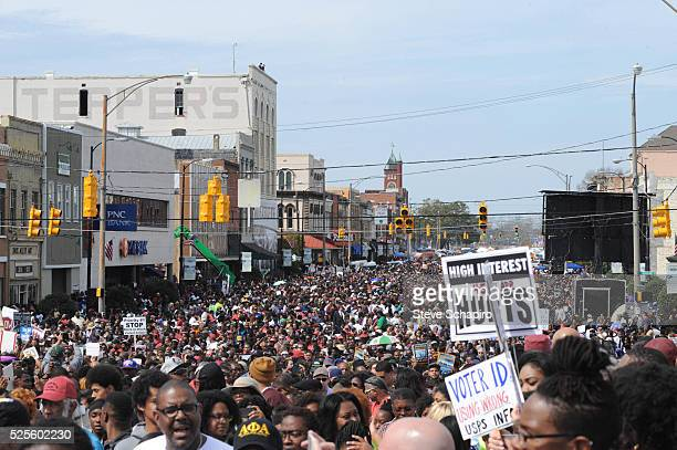 Thousands of people celebrate the 50th anniversary of the marches on Selma with a rally at Brown Chapel and march over Edmund Pettus Bridge.