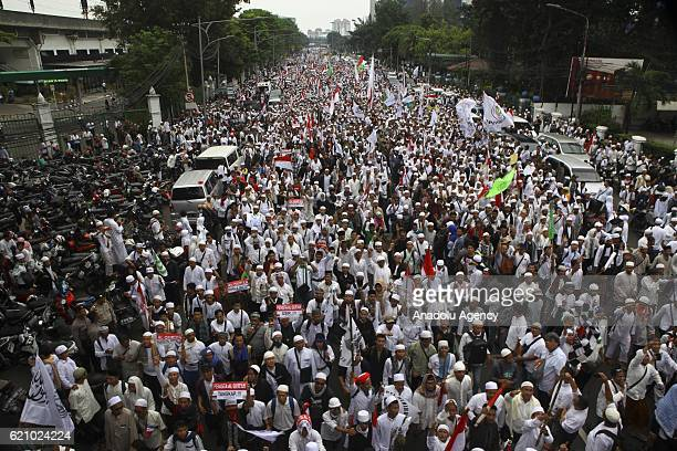 Thousands of people comprised of Islamicbased groups take a rally during a protest in Jakarta Indonesia on November 04 2016 in respond to Jakarta...