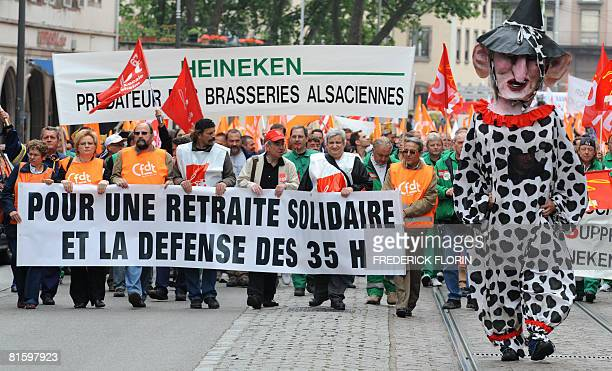 Thousands of people demonstrate as part of a nationwide strike called by the two biggest unions CGT and CFDT on June 17 2008 in Strasbourg eastern...